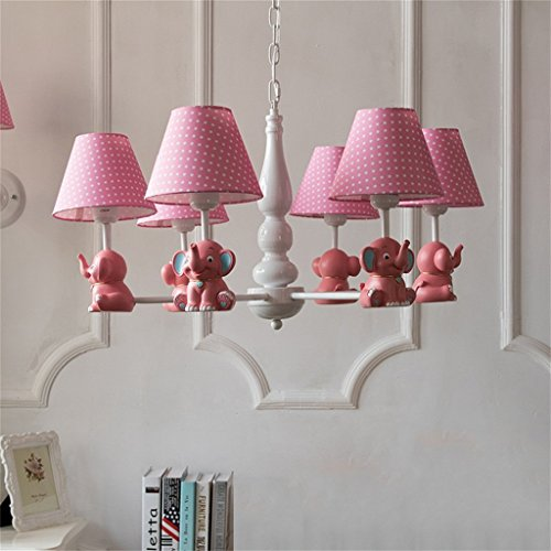 HOMEE Ceiling Chandelier-Nordic Pastoral Small Elephant Simple Creative European Boy Girl Children'S Room Bedroom Cloth Lampshade Iron Chandelier,Pink-6 Head by HOMEE