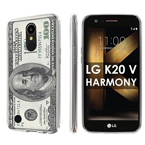 [Nakedshield] Slim Flexi Case For LG [K20 V/ K20 plus] LG Harmony [Clear] Total Armor Rubber Gel Phone Case [Screen Protector]- [$100 Bill] Print Design