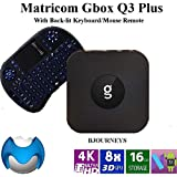 G-Box Q3 Plus TV Box (Android Nougat 7.1.2) Set-Top Box 4K/HD Media Player with WiFi/Ethernet, HDMI/USB/SD [Quad/Octo-Core 2GB/16GB] Bundle with Keyboard Remote