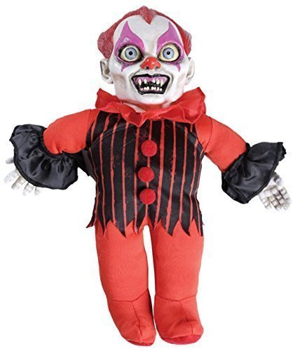 Fancy Me Spooky Sounds Haunted Killer Clown Halloween Doll Ventriloquist Dummy Horror Party Decoration Handheld Prop (Clown) ()