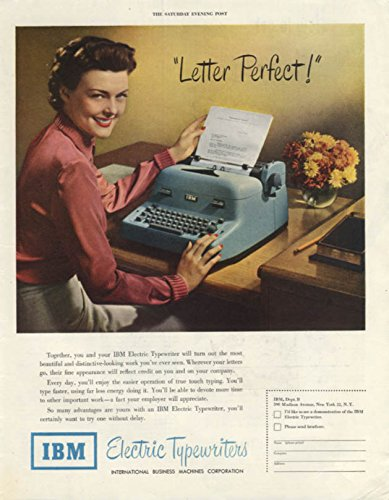 Letter Perfect! Secretary types on IBM Electric Typewriter ad 1950 SEP