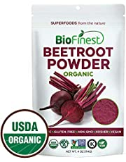 BioFinest Beetroot Juice Powder - 100% Pure Freeze-Dried Antioxidant Superfood - Usda Certified Organic Kosher Vegan Raw Non-Gmo - Boost Stamina & Digestion - For Smoothie Beverage Blend (4 Oz)