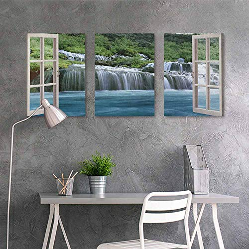 HOMEDD Oil Painting Modern Wall Art Posters,Waterfall Majestic Waterfall Landscape Through A Window Imaginary Secret Paradise Print,Contemporary Abstract Art 3 Panels,24x35inchx3pcs Blue Green