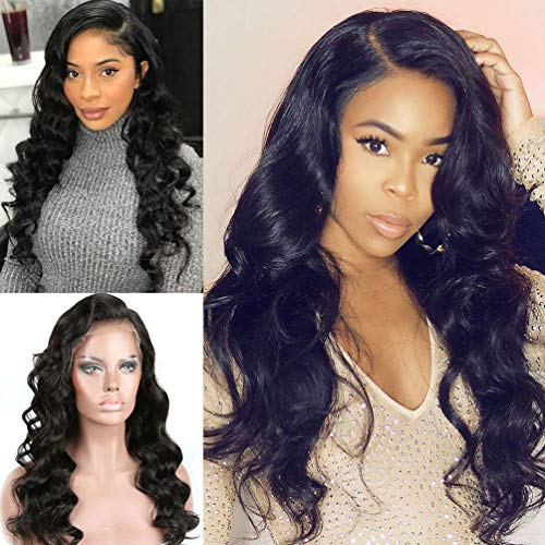 Body Wave Lace Front Human Hair Wigs with Baby Hair Pre Plucked Brazilian Virgin Full Human Hair Lace Wigs for Women Remy Hair 130% Density Natural Color 20 inch