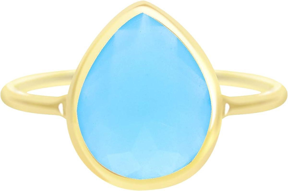 Blue Chalcedony Pear Shape Wholesale Gemstone Jewelry Ring