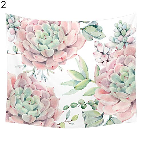 yanQxIzbiu Wall Hanging Tapestry Refreshing Flowers Succulents Sky Wall Tapestry Cafe Shop Home Hanging Decor - 2# 130cm x 150cm