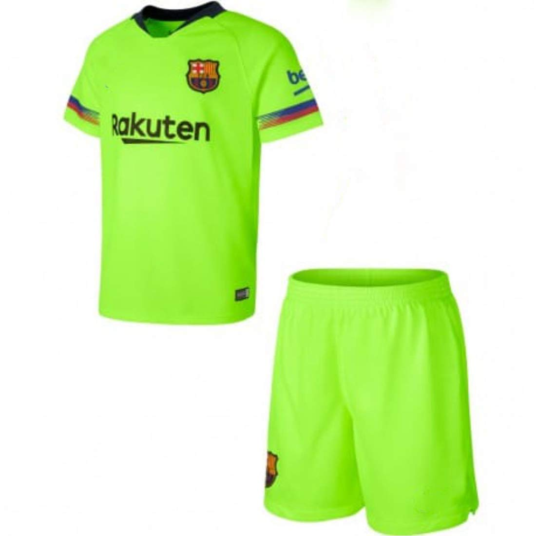 best website 7ea5f 5f206 GOLDEN FASHION Men's Barcelona Away Jersey Kit T-shirt and Shorts with All  Logos in Place (Small-38 Inches, Neon)