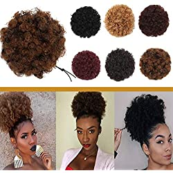 Elailite Afro Kinky Curly Hair Bun Drawstring Puff Ponytail for African American Women Short Synthetic Wrap Updo Chignon Hairpiece with Clips One Piece Medium Size Natural Black Mix Light Auburn