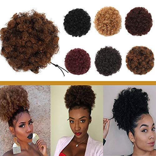 Search : Elailite Afro Kinky Curly Hair Bun Drawstring Puff Ponytail for African American Women Short Synthetic Wrap Updo Hairpiece with Clips One Piece Ginger