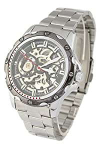 Youyoupifa Black Skeleton Dail Stainless steel Strap Automatic Mechanical Watch