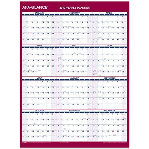 AT-A-GLANCE 2019 Yearly Wall Calendar, 12 x 15-11/16, Medium, Erasable, Dry Erase, Vertical / Horizontal (PM330B28)