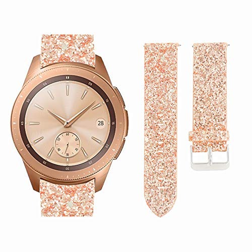 AKOPUGA Compatible with Galaxy Gear S2 Watch Bands 20mm/42mm Shiny Leather Strap Glitter Sparkling Wristband for Samsung Galaxy Watch 42mm/S2 Classic Smartwatch/SM-R810/SM-R815 (Rose Gold 20mm/42mm)