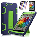 lg 3 tablet cases - Windrew Heavy Duty rugged impact Hybrid Case with Build In Kickstand Protective Case For LG G Pad X 8.0 / LG GPad III 3 8.0 Inch Tablet + Screen Protector Film and stylus pen (Dark Blue/Yellow Green)
