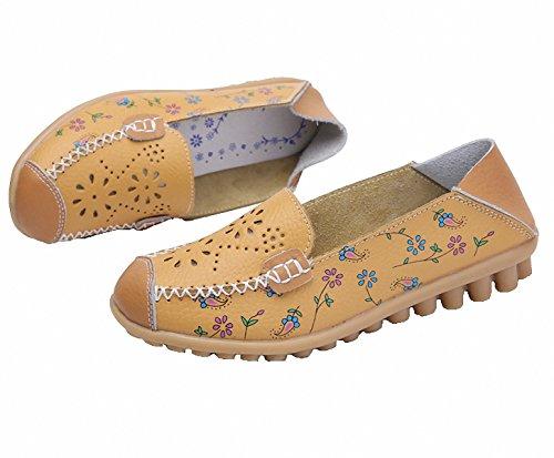 Scarpe Mocassini, Mocassini Da Donna In Vera Pelle Pantofole Slip-on Piatte Stampate Scarpe Da Guida Cave Gialle
