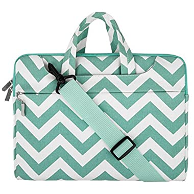 Mosiso Laptop Sleeve Shoulder Bag Briefcase, Canvas Fabric Carry Case 15-15.6 Inch Laptop / Notebook / MacBook Air / MacBook Pro (Internal Dimensions: 15.16 x 0.79 x 10.63 inches), Chevron Hot Blue