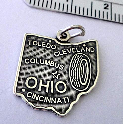 Sterling Silver 20x17mm Ohio The Buckeye State Cleveland Toledo Columbus Charm Vintage Crafting Pendant Jewelry Making Supplies - DIY for Necklace Bracelet Accessories by -