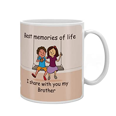 Indi ts Brother Memories With Brother Quote Printed Gift Set Mug 330 Ml Crystal Rakhi Roli & Greeting Card For Men Boys