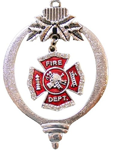 FIREFIGHTER Jeweled Maltese Cross Ornament-Clear Crystal Rhinestones Embellished Firefighter's Maltese Cross. Charm dangles from the Center of Silver Metal Ornament.Beautiful!