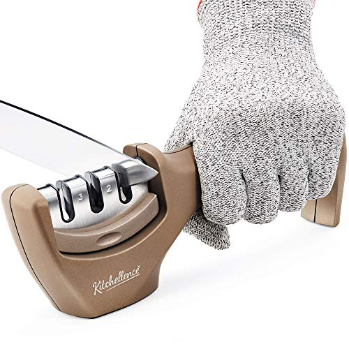 Kitchen Knife Sharpener – 3 Stage Knife Sharpening Tool Helps Repair, Restore and Polish Blades – Cut-Resistant Glove Included (Tan)