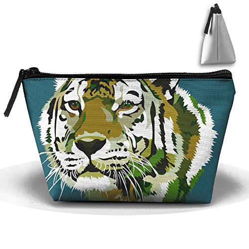 Fengyaojianzhu Tiger Face Portable Make-up Receive Bag Storage Capacity Bags For Travel With Hanging Zipper