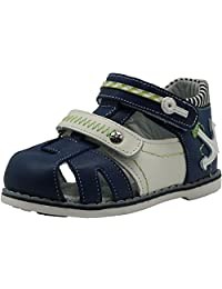 Apakowa Toddler Boy's Double Adjustable Strap Closed-toe Geniune Leather Sandals with Arch Support
