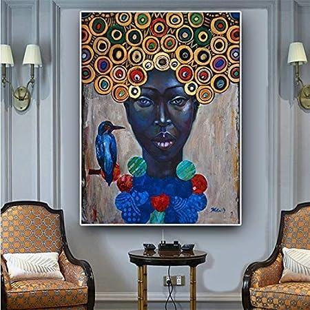 SAIDE Pintura al óleo Abstracta del Retrato de la Mujer Africana sobre Lienzo. Cartel de Arte escandinavo y Mural Moderno en la Sala de Estar 50x70cm sin Marco