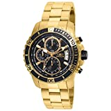 Invicta Men's Pro Diver Gold-Tone Steel Bracelet & Case Quartz Black Dial Analog Watch 22414