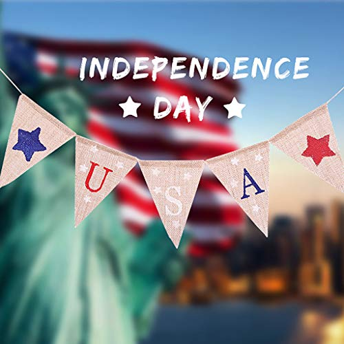 Gotian USA Independence Day Banner Festival Designed with Traditional Independence Day Elements Layout Outdoor Interior Ceiling Walls Windows Tables Branches Backgrounds Decoration (C)