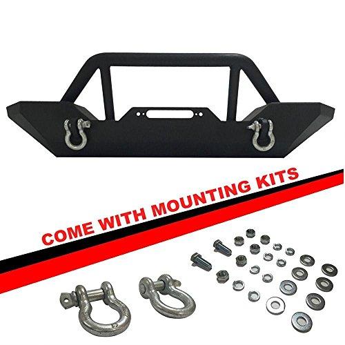 Gevog 1pc Front Rock Crawler Bumper w/Winch Plate+D-Ring for 07-18 Jeep Wrangler JK Textured Black