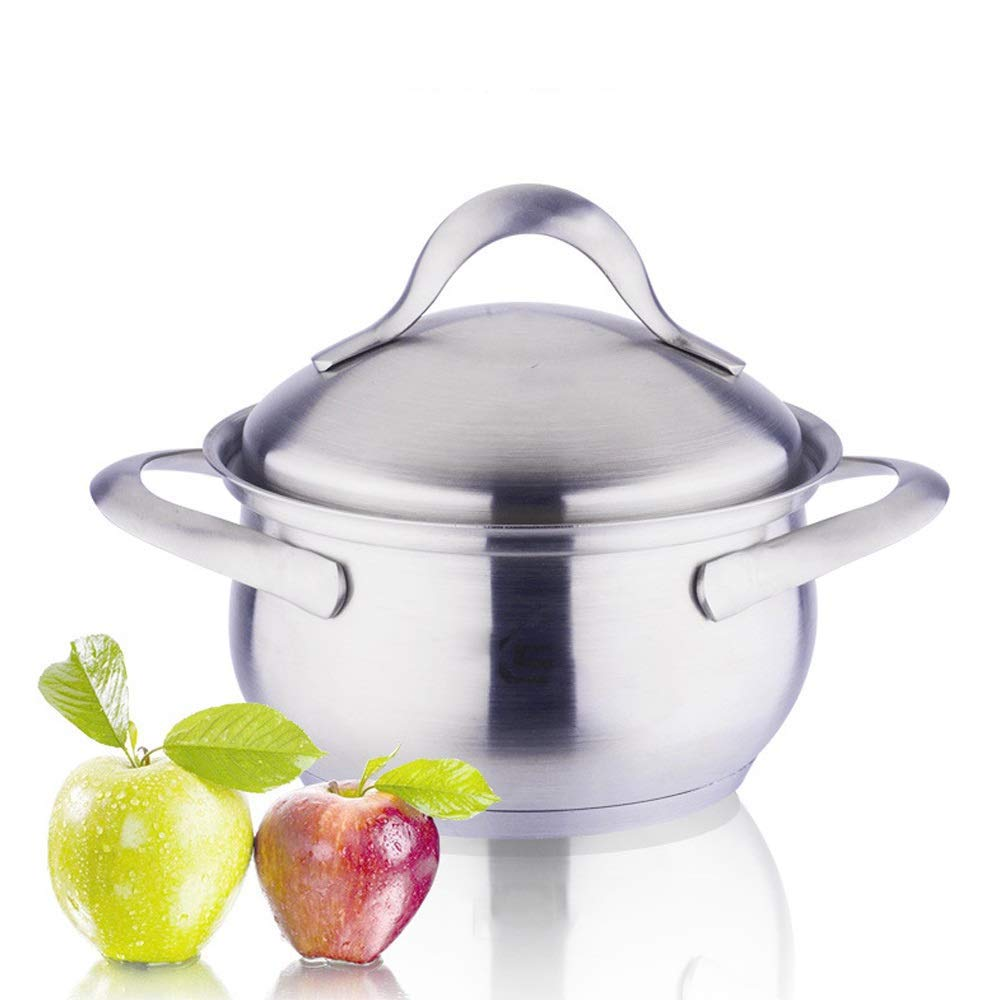 HHFZH Professional Induction-Safe Stainless Steel Stock Pot with Lid - Perfect for Soups, Stews & Casseroles Cooking Pot, 304 Double Ear Soup Pot with Lid, Extra Thick Forging Base Pot,18cm