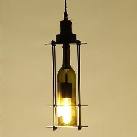 E27 220 V Industrial Retro Luces Colgantes De Vidrio Creativo Botella De Vino LáMpara Colgante Decorativa