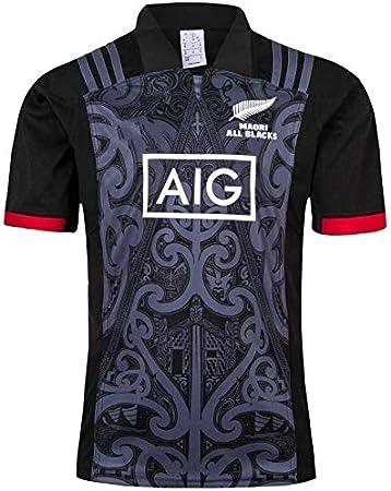 Aitry Equipo de Nueva Zelanda Manga Corta, Copa del Mundo Camisa Deportiva, Camisas para Hombres Maori All Blacks, Camiseta de Entrenamiento de Rugby: Amazon.es: Deportes y aire libre