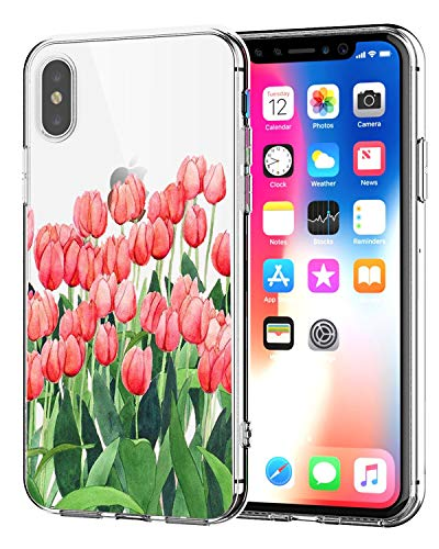 Matop Case Compatible for iPhone XR Case Clear Thin Ultra Design Soft TPU Shockproof Protective Slim Bumper No-Slip Anti-Scratch Pattern Shell Cover Plants (Tulips)