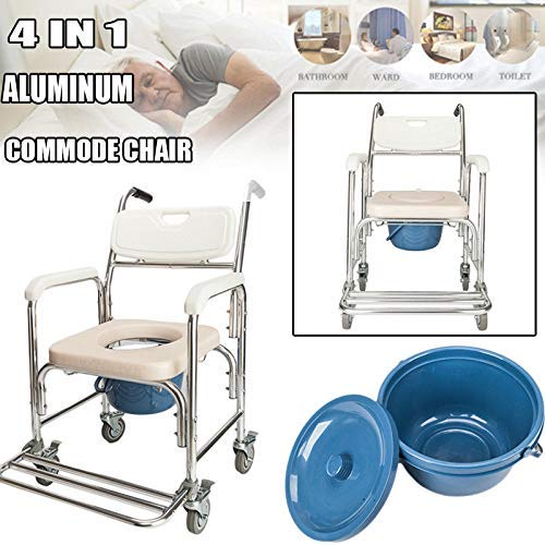 4 in 1 Bedside Commode Chair, Multifunctional Bath Chair Aluminum 300 Lb Capacity Heavy-Duty Toilet Chair Safety Frame Medical Commode for Elder Disabled People Pregnant ()