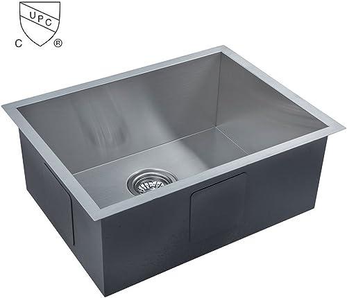 DECORAPORT 22.4 Inch x 17 Inch Under Mount Single Bowl Zero-Radius 18 Gauge Stainless Steel Luxury Handmade Kitchen Sink Bar Sink AS2217-R0