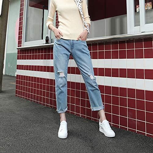 Zapatos mujer de Cuero de Zapatos Blanco de Otoño Blanco Plano Zapatos Aumento Altura Mujer Blancos Talón Negro Cómodo x0q5wn1tdw