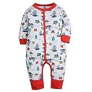 Kidsform Baby Infant Boy Girl Cotton Bodysuit Sleepwear Long Sleeve Footless Romper E 3-6M