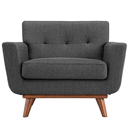 Modway Engage Mid-Century Modern Upholstered Fabric Accent Arm Lounge Chair in Gray (Gray Lounge)