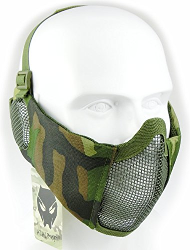 Face Guard Mesh Airsoft (ATAIRSOFT Tactical Airsoft CS Protective Lower Guard Mesh Nylon Half Face Mask with Ear Cover WL)