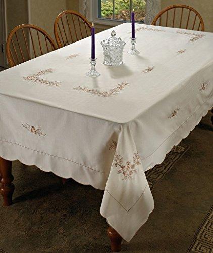 Violet Linen Blossom Embroidered Vintage Design Tablecloth, 70