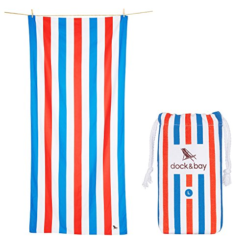 Dock & Bay Beach & Travel Towel (Blue & Red, Large 63x31) Swim, Pool, Yoga, Travelling - Summer Collection