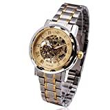 Mens Luxury Classic Skeleton Mechanical Stainless Steel Watch ,Dress Automatic Wrist Hand-Wind Watch