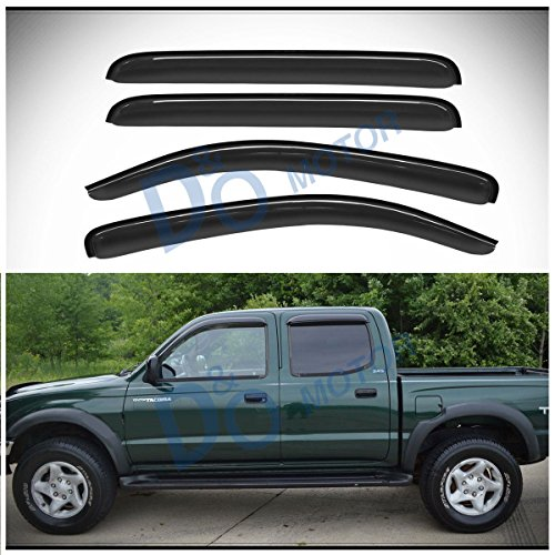 Rear Door Vent - D&O MOTOR 4pcs Front+Rear Smoke Sun/Rain Guard Outside Mount Tape-On Vent Shade Window Visors For 05-15 Toyota Tacoma Double/Crew Cab With 4 Full Size Doors