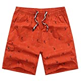 Men Quick Dry Short,PANPANY Men Sales Spring Summer Print Pants Jogging Surfing Pockets Swimwear Loose Casual Fitness Sweatpants Beach Shorts Orange