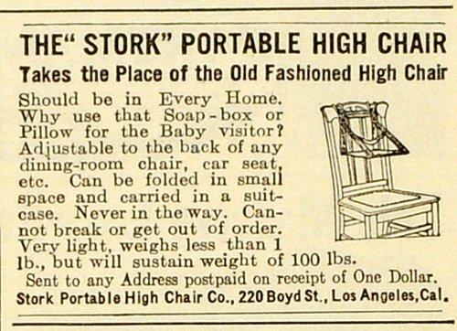 1910 Ad Stork Portable High Chair CA Baby Chair Furniture Antique Los Angeles - Original Print Ad