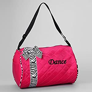 Girls Kids Dance Duffle Bags - Quilted Zebra Pattern Ribbon & Bow from 1 Perfect Choice