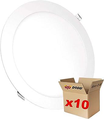 3000K, 9W POPP-(Pack x 2 ) downlight led Placa LED redondo 9W luz calida chip OSRAM, Clase de eficiencia energ/ética A+