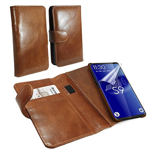 Tuff-Luv Vintage Leather Wallet / Stand Case Cover for Samsung Galaxy S9 Plus – Brown
