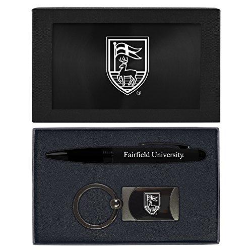 Action Metal Pen - LXG, Inc. Fairfield University -Executive Twist Action Ballpoint Pen Stylus and Gunmetal Key Tag Gift Set-Black