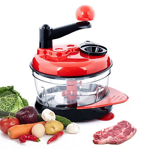 Chinashow Manual Food Processor, Food Chopper With 4 pcs Stainless Steel blades, Multi Vegetable Chopper, 3-gear Meat Grinder, Blender to Chop Fruits/ Vegetables/ Nuts/ Herbs/ Onions/ Garlics (Miracle Chopper Salsa Maker)